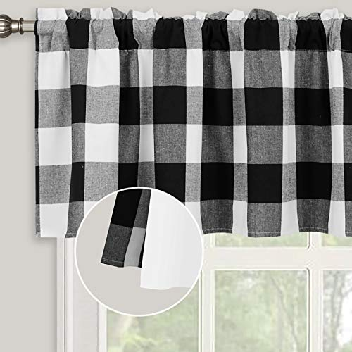 Inselnwald Lined Buffalo Check Plaid Valances for Kitchen, Farmhouse Gingham Window Treatment Decor Curtains Valances for Living Room Rod Pocket 52 Inch by 18 Inch, Black and White