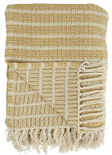 IB Laursen Schlichte Baumwolldecke mit Fransen Plaid Natur Decke Tagesdecke Creme/Mustard 160x130 cm 6513-03