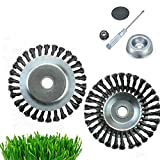 Tough Trimmer, Solid Steel Wire Wheel Garden Weed Brush Trimmer Head, Knotted Wire Grass Trimmer Cutter Head
