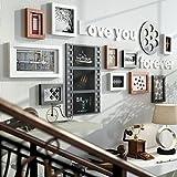 TING- 10 Multi Picture Frame Set Estilo Industrial Madera Negro Blanco Rojo-marrón DIY Foto Cuadro Pared Cuadro Combinación Escalera Pintura decorativa, 154 * 67cm ( Color : #A )
