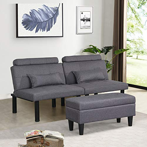 Futon Sofa Bed Couch and Sleeper with Storage Ottoman Footstool or Coffee Table and 2 Lumbar Pillows, Tufted Adjustable Convertible Futon Sofa Bed Sleeper Couch Loveseat, Small, Metal Leg, Linen(gray)