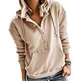 WEEPINLEE Women's Casual Long Sleeve Solid Color Button Pullover Hoodies Thick Sweatshirts with Pockets (Khaki,XL)