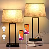 2-Pack Touch Control Bedside Lamp with USB Ports and AC Outlet 3-Way Dimmable Small Table Lamps for Living Room Black Nightstand Lamp Desk Bed Lamps for Bedroom Reading Office Dorm (Bulbs Included)