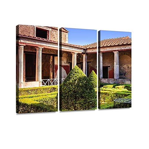 Pompeii, Italy a Luxury Ruined Villa Italian Ceramics Stock Wall Art Painting Pictures Print On Canvas Stretched & Framed Artworks Modern Hanging Posters Home Decor 3PANEL