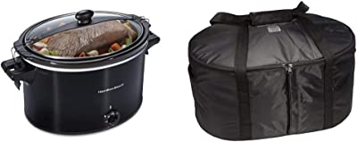 Hamilton Beach Slow Cooker, Extra Large 10 Quart, Black (33195) & Beach Travel Case & Carrier Insulated Bag for 4, 5, 6, 7 & 8 Quart Slow Cookers (33002),Black