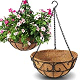 CABASAA 2 Pack Metal Hanging Planter Basket with Coco Coir Liner Chain Round Wire Plant Holder Flower Pots Hanger Garden Decoration Porch Decor Watering Hanging Baskets Indoor Outdoor (12INCH)