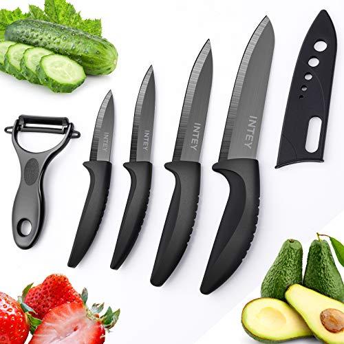 Cuchillos Cocina, Cuchillos Cocina Cerámica, Juego de Cuchillos Cocina, Cuchillos de Cerámica, 4 x Cuchillos, 1 x Pelador Estuche Protector de Goma, Mango ergonómico, Resistente a la Corrosión