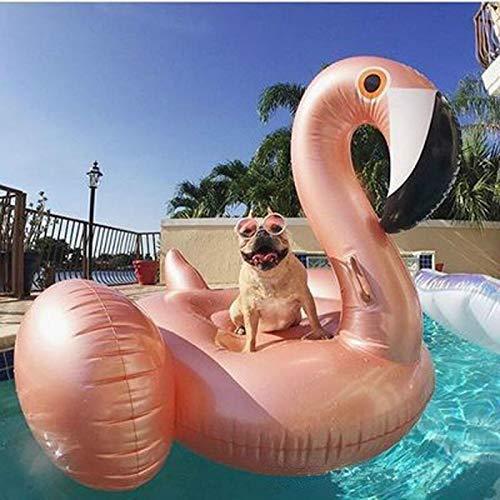 min min Airbeds Inflatable Flamingo Pool Float para niños Adultos Nadar Anillo Gigante Inflable Aire Colchón Pool Pool Fiesta Accesorio (Color: Rosa, Tamaño: Gratis) (Color : Rose Gold, Size : Free)