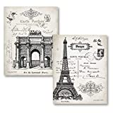 Beautiful Vintage Paris France Landmarks, Arc de Triomphe du Carrousel and Eiffel Tower; Two 11 x 14 Prints