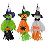 Pannow 3 Pcs Halloween Hanging Scarecrow Dolls Windsock Pendant, Wall Hanging Ghost Pumpkin Fly Witch Party Supplies for Patio Lawn Garden Front Yard Decor
