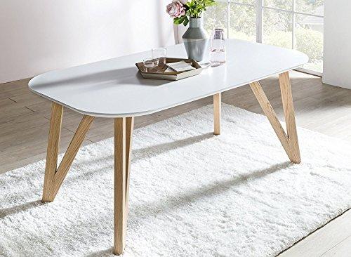 SalesFever Esszimmertisch Aino, Küchentisch in matt-weiß, 200 x 90 cm, furnierter Esstisch, pflegeleichter & Abgerundeter Holz-Tisch, FSC® Zertifiziert