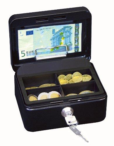 Wedo 145121H Geldkassette (aus pulverbeschichtetem Stahl, versenkbarer Griff, Geldnoten- und Belegeklammer, 4 -Fächer-Münzeinsatz, Sicherheits-Zylinderschloss, 15,2 x 11,5 x 8,0 cm) schwarz