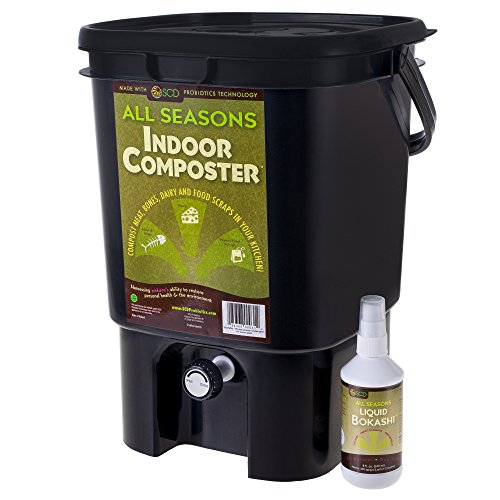 All Seasons Indoor Composter Kit, 5 Gallon Black Bucket and 8 oz Liquid Bokashi Compost Starter, Kickstart Composting & Reduce Odors, by SCD Probiotics