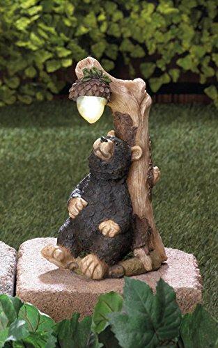 Garden Solar Animal Concrete Resin Statues Bear Sculptures Outdoor Disney Lawn Yard Patio Ornament