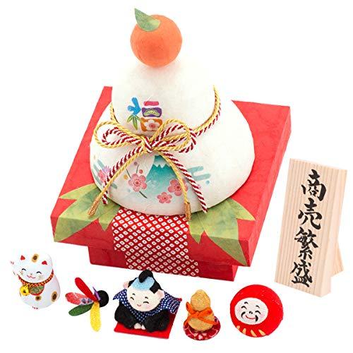 (Smileまーけっと) 正月飾り 迎春飾り 鏡もち ちぎり和紙 彩 五福鏡餅 縁起物 商売繁盛 木札付き 日本製