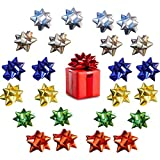 36PCS 3 Inches Mini Gift Bow, Christmas Metallic Bows Self Adhesive Gift Wrap Bows for Wrapping