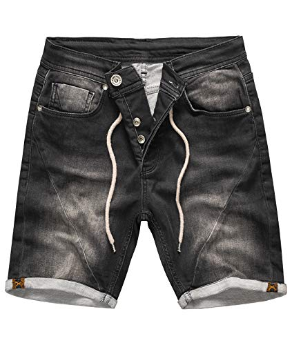 Rock Creek Herren Sweat Shorts Jeansshorts Denim Short Kurze Hose Herrenshorts Sommer Sweatshort Stretch Bermudas Dunkelgrau RC-2200 Anthrazit W34