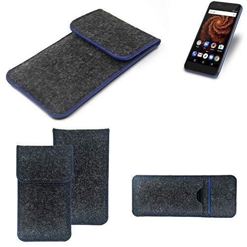 K-S-Trade® Filz Schutz Hülle Für Allview X4 Soul Mini S Schutzhülle Filztasche Pouch Tasche Case Sleeve Handyhülle Filzhülle Dunkelgrau, Blauer Rand