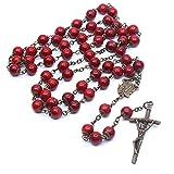 Joyería religiosa católica vintage Cuentas de cristal de bronce antiguo cristiano Colgante largo Cruz Rosario Collar Longitud de cadena 88Cm