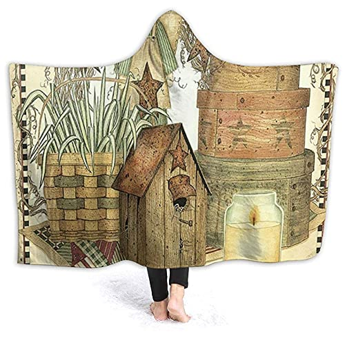 Manta con capucha – Country House Primitive Home Manta de forro polar con capucha, súper suave y cálida manta de 60 x 50 pulgadas