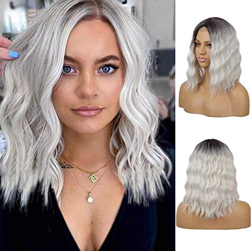 Ombre Icy Blonde Synthetic Short Wavy Hair Lace Wigs Blonde Wavy Wig Middle Part Synthetic Heat Resistant Fiber Hair Short Wigs for Women (Icy Blonde)