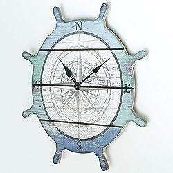 Sunbelt Gifts Coastal Round Ship Wheel Wood Wall Clock, Multi