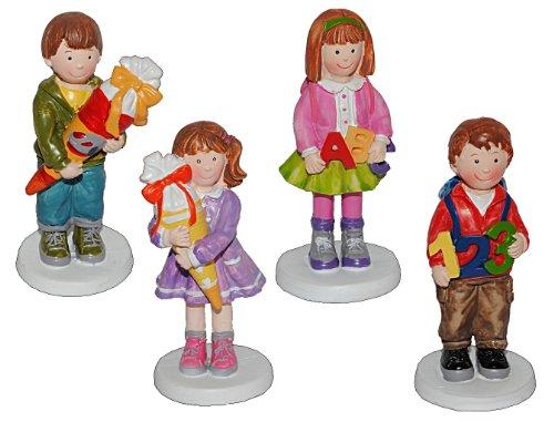 alles-meine.de GmbH 3-D Figur Junge mit Rucksack 9,5 cm - Tischdeko aus Kunstharz zur Schuleinführung Einschulung Schultüte Zuckertüte Schulanfang Deko