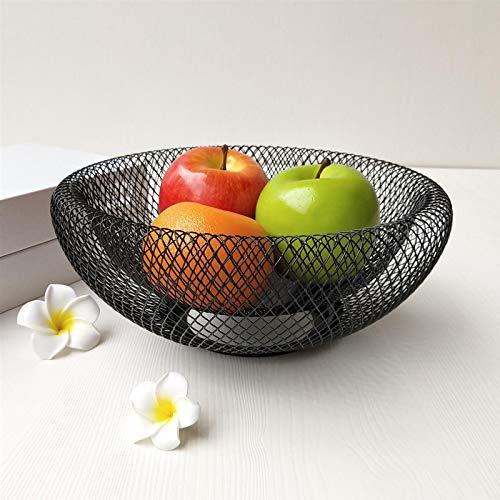 Doppelwandiges Netz Metalldraht Obstschale, Mesh Fruit Round Basket für dekorative Lagerung, Obst Snacks Gemüse, Metall Obsthalter für Küche Balkon Tisch, schwarz