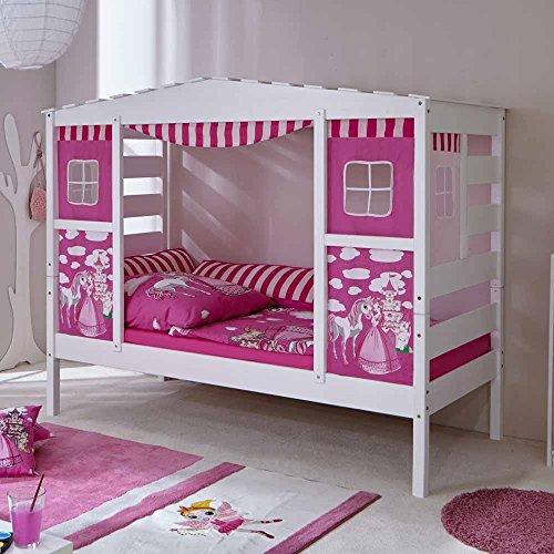 Pharao24 Mädchen Kinderbett in Weiß Rosa Prinzessin Design