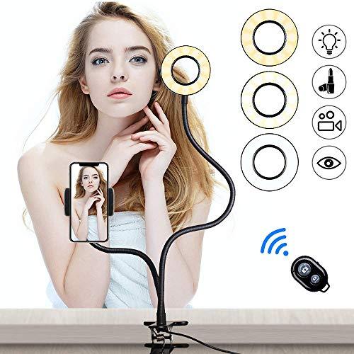Luce ad anello, Anello Luminoso Selfie con Supporto per Cellulare Ring Light LED 3 Modalità con Telecomando Bluetooth per Trucco, Live Stream, Youtube, Facebook, Tiktok
