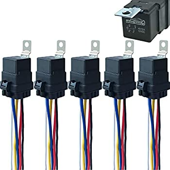 5 Pack 40/30 AMP 12 V DC Waterproof Relay and Harness - Heavy Duty 12 AWG Tinned Copper Wires 5-PIN SPDT Bosch Style Automotive Relay