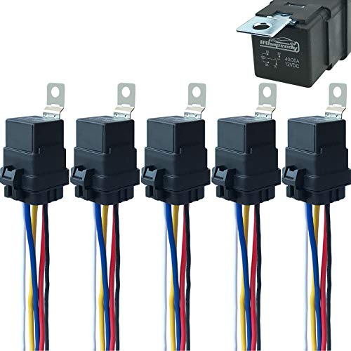 5 Pack 40/30 AMP 12 V DC Waterproof Relay and Harness - Heavy Duty 12 AWG Tinned Copper Wires, 5-PIN SPDT Bosch Style Automotive Relay
