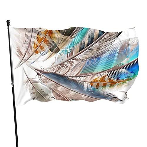 GOSMAO Bandera de jardín Pluma Colorida Color Vivo y Resistente a la decoloración UV Banner de Patio Cosido Doble Bandera de Temporada Banderas de Pared 150X90cm