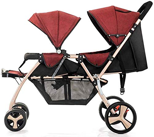 Affordable TZZ Double Stroller, Lightweight Jogging with Side by Side Twin Seats, Compact Urban Carr...
