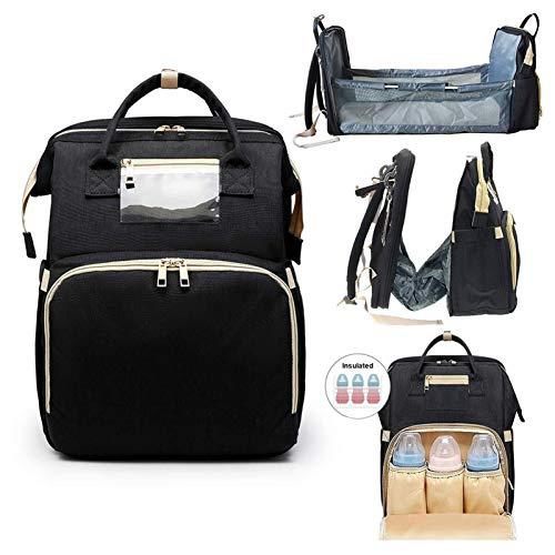 Gungungun Multifunctional 4 in 1 Travel Foldable Crib, Mummy Bag Backpack Crib, Travel Crib Baby, Portable Mother And Baby Bag, Super Large Capacity Travel Backpack (Color : Black)