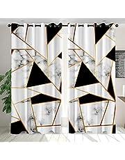 QPCGRA Mörkläggningsgardin med öljetter 2 stycken, ogenomskinlig gardin 86 x 199 cm supermjuka gardiner för sovrum öljett gardiner ljud minska gardiner vitt svart guld geometriskt marmormönster