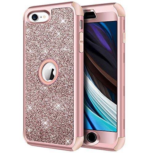 """Hython Compatible with iPhone SE 2020 Case, Heavy Duty Full-body Defender Protective Case Bling Glitter Sparkle Hard Shell Armor Hybrid Shockproof Rubber Bumper Cover for iPhone SE 2nd 4.7"""", Rose Gold"""