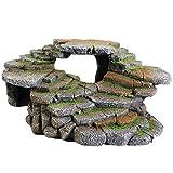 Penn-Plax Shale Step Ledge for Aquariums & Terrariums, Adds Hiding Spots, Swim Throughs, Basking Ledges for Fish, Reptiles, Amphibians, and Small Animals, Natural, Large