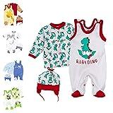 Baby Sweets 3er Baby-Set mit Strampler, Shirt & Mütze für Jungen & Mädchen in Rot Grün/Erstausstattung als Strampler-Set im Dino-Motiv für Neugeborene & Kleinkinder in der Größe: 3 Monate (62)