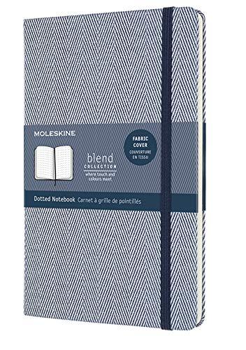 Moleskine Blend Kollektion gepunktete Seiten Notizbuch mit Stoffhülle und elastischem Verschluss, Größe 13 x 21 cm, Fischgrätenmuster, blau, 240 Seiten