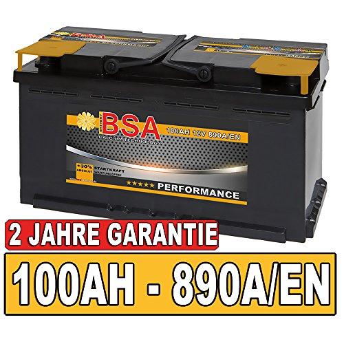 BSA BATTERY HIGH QUALITY BATTERIES Autobatterie 100Ah Starterbatterie ersetzt 90Ah 92Ah 95Ah (890A Kaltstartleistung)