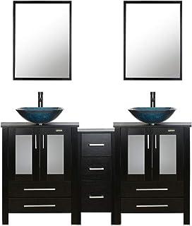 "60"" Black Bathroom Vanity ,Double Vanity,0.5""Tempered Glass Vessel Sink (Light Blue),ORB Faucet,Drain Parts,Bathroom Vanity Top,Glass Sink Bowl,Removable Vanity Pedestal,MDF board,Mirror,Mounting Ring"