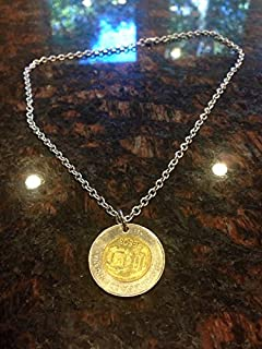 Dominican Republic 10 pesos bi metal coin necklace