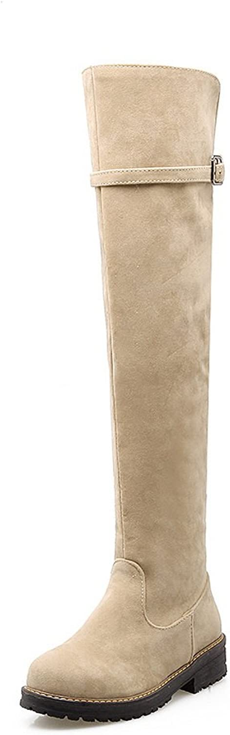BalaMasa Girls Square Heels Buckle Round Toe Frosted Boots