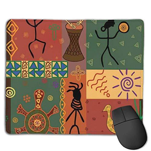 Whecom Gaming Mauspad Schwarz Funky Tribal Pattern Depicting African Style Dance Moves Instruments Spiritual, Benutzerdefiniertes Mauspad Große Gaming-Mausmatte mit rutschfester Basis