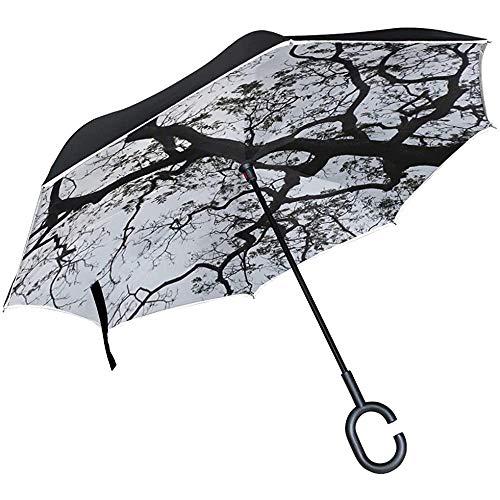 Alice Eva Umgekehrter Regenschirm-Baum-Himmel-Baum-Himmel-Kontrast-Baum-Schattenbild-Regenschirme Umgekehrter Klappschirm Großer gerader Regenschirm