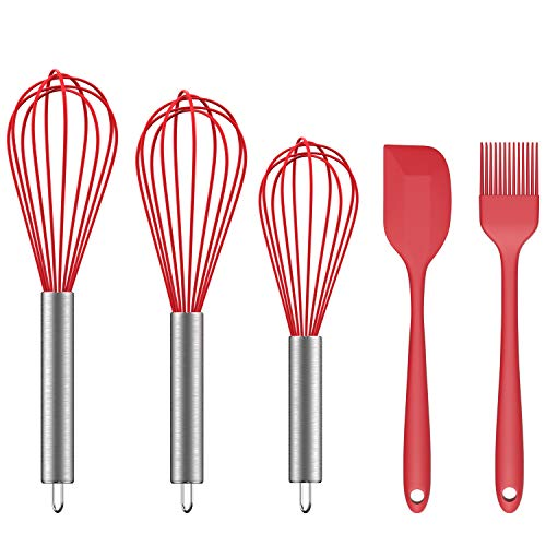 Ouddy 5 Pack Silicone Whisk Set Kitchen egg Whisk Wire Wisks for Cooking, Blending, Whisking, Beating, Stirring and Baking with Silicone Spatula & Silicone Brush