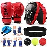 Odoland Kits de Guantes de Boxeo 5-en-1 con Patas de Oso Bola Reflejada Boxeo Protecciones Cuerda Saltar, Set de Boxeo Kickboxing Karate Muay Thai Entrenamiento de MMA
