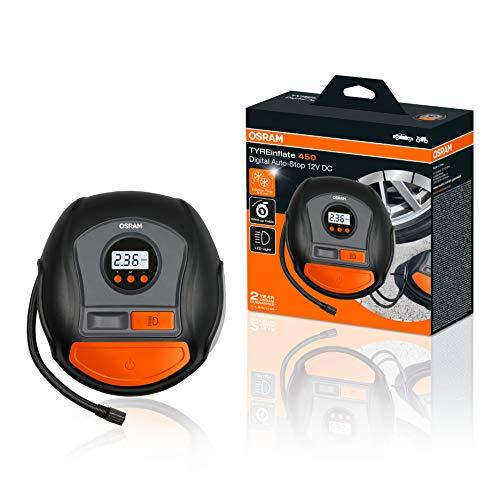 OSRAM TYREinflate 450, Digitale Reifenpumpe mit Auto-Stopp und LED Licht, tragbarer 12V Kompressor für Autoreifen, Stromanschluss via Zigarettenanzünder, Reifenbefüllung in 3,5 Minuten