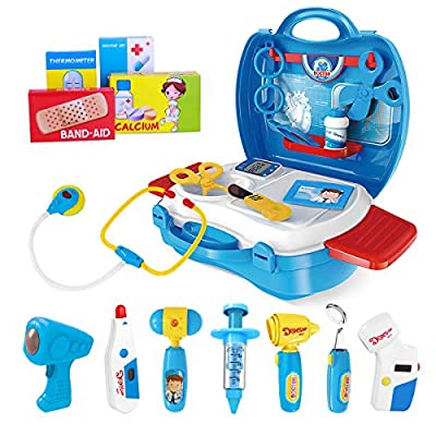 iBaseToy Doctor Kit for Kids, 27Pcs Pretend Medical Doctor Medical Playset with Electronic Stethoscope, Medical Kits Gift, Educational Doctor Toys for Toddler Boys Girls (Blue) from iBaseToy